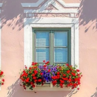 Beautiful Building Facade With Window Boxes